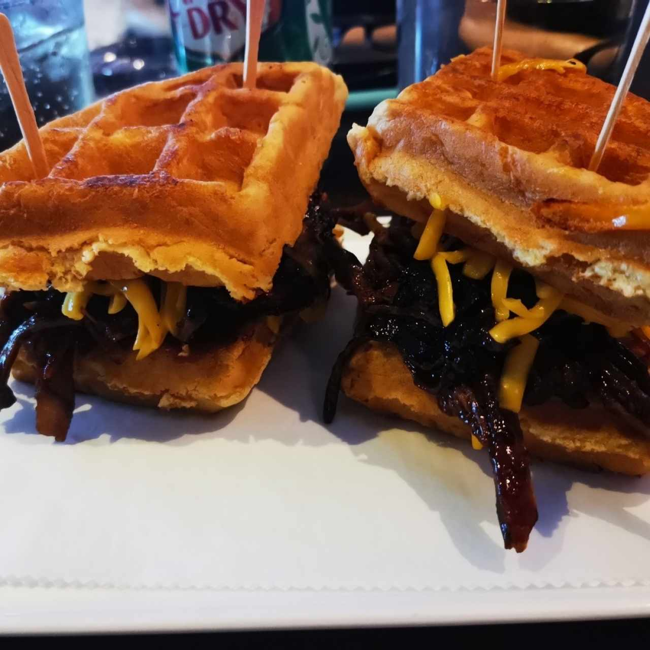 Pulled pork barbecue waffle