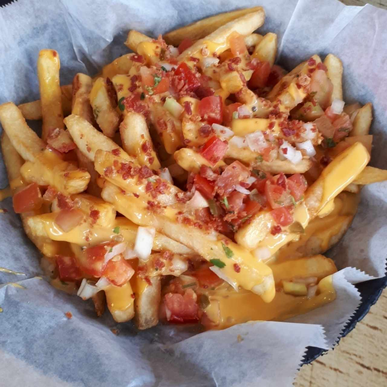 loaded chesse and bacon fries