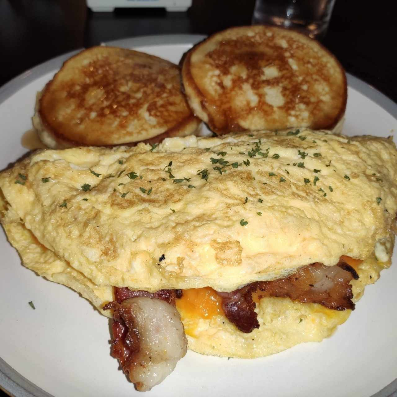Bacon/Cheddar Omelette and Pancakes