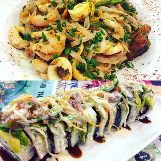 Phat Thai de Mariscos y God Suki Roll