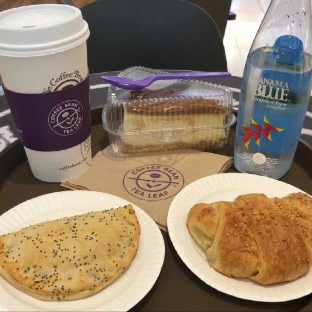 Coffee, Cake, Water, Empanadas and Croissant!