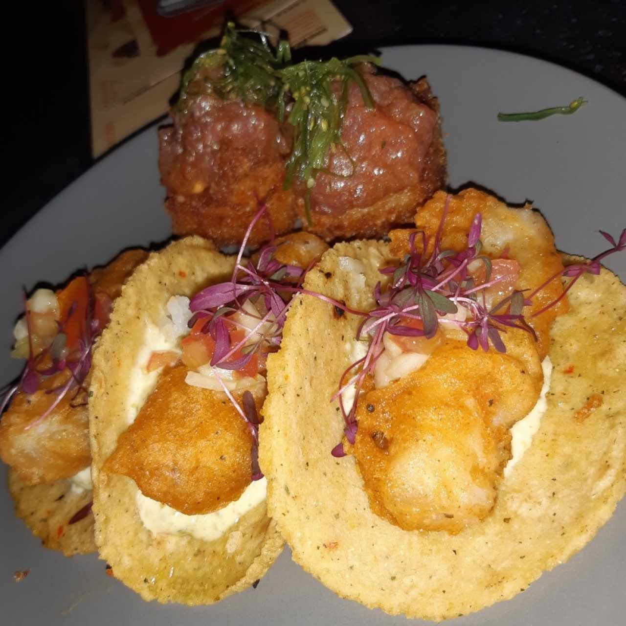 fish tacos and tuna tartar