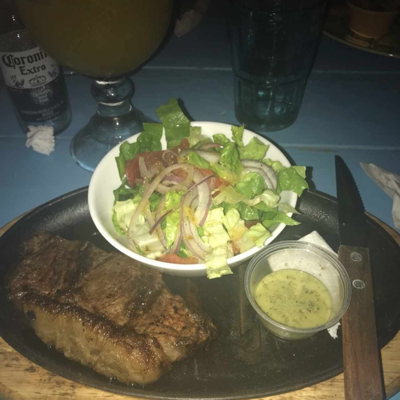 new york steak con ensalada