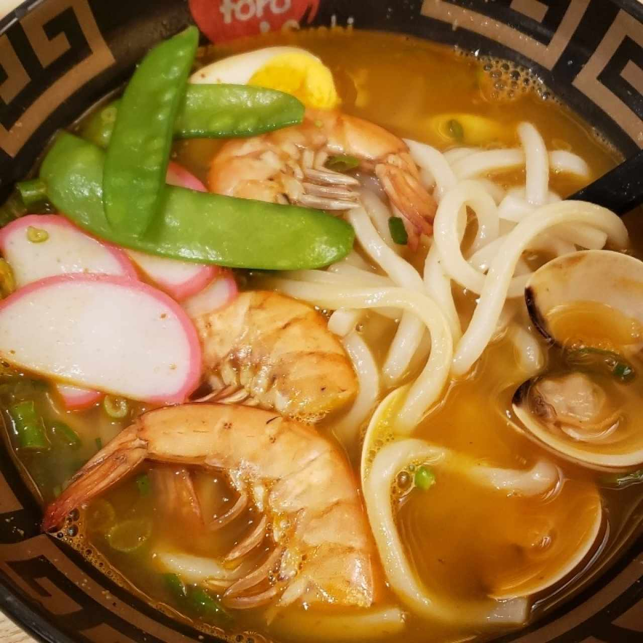 Seafood udon soup