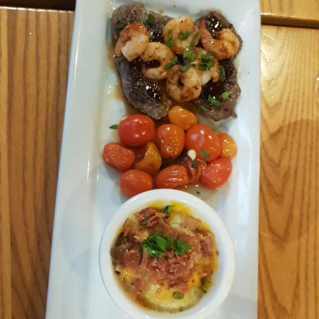 szziling honey-chipotle shrimp & sirloin