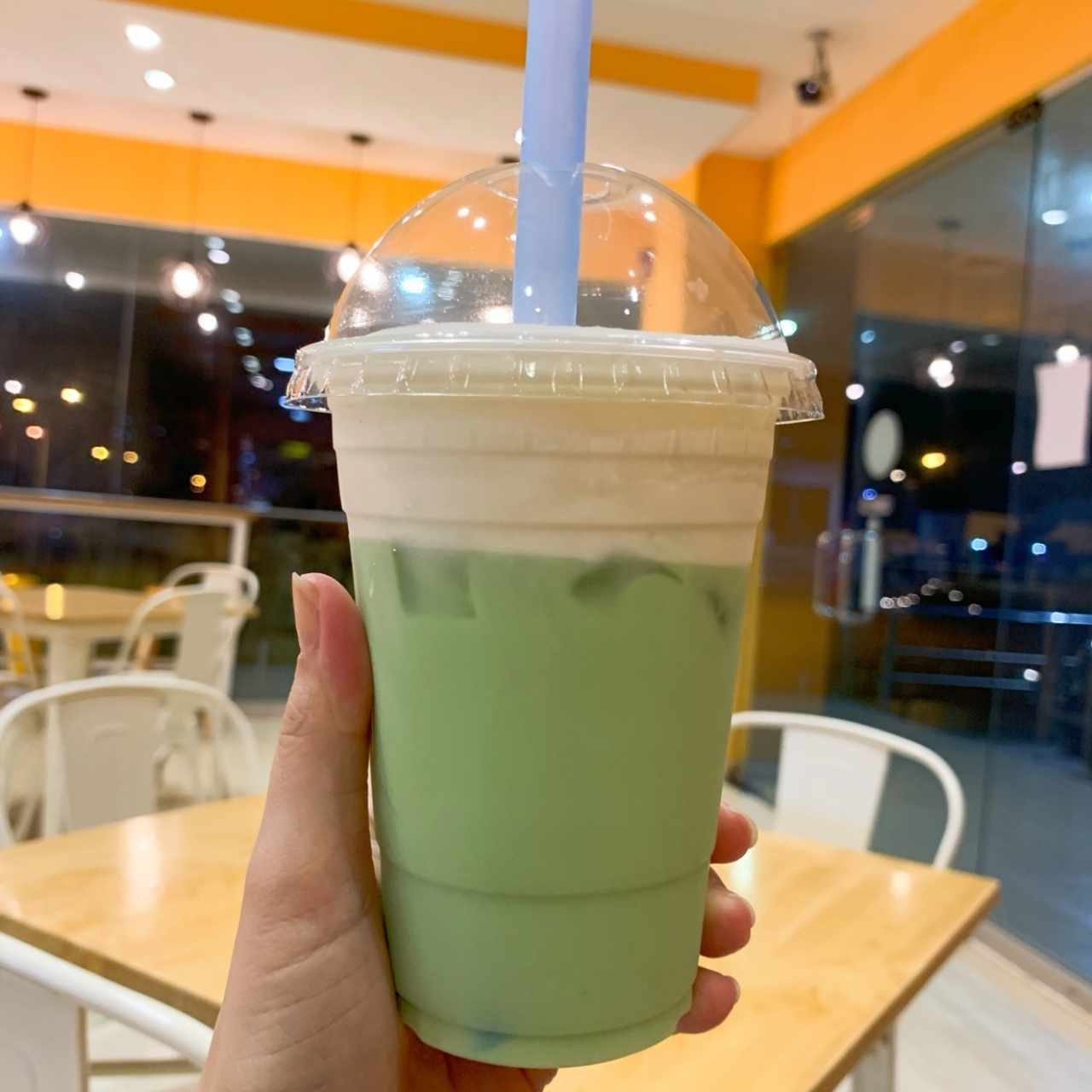 cheese milk top matcha bubble tea