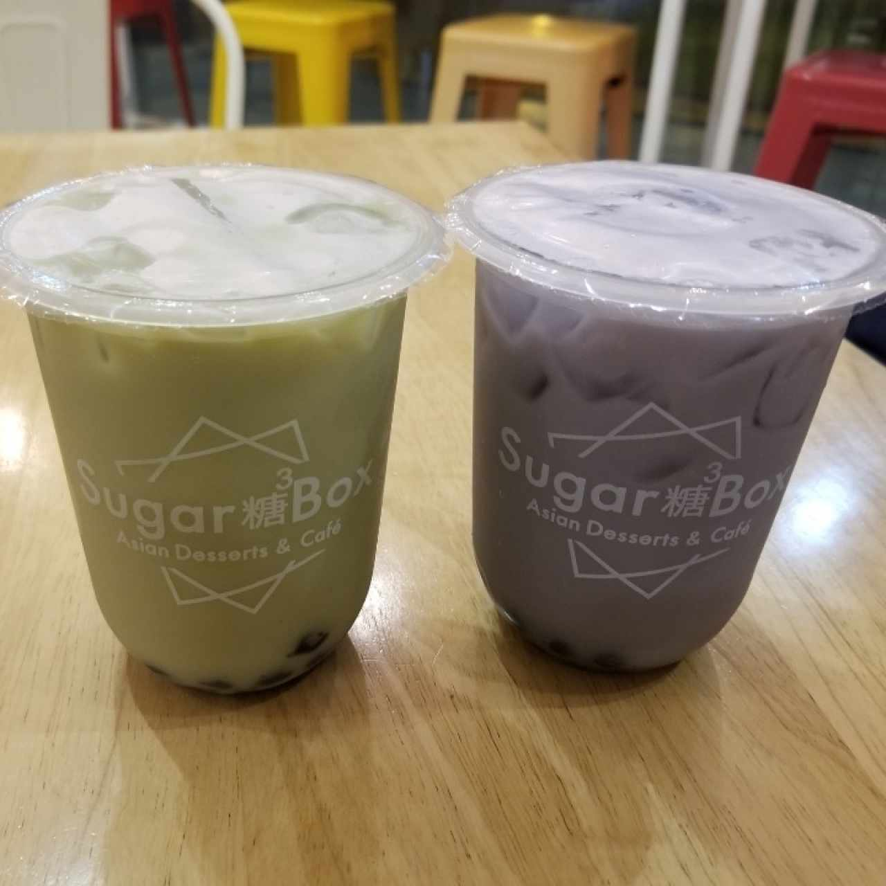 milk tea matcha / milk tea taro / con topping tapioca