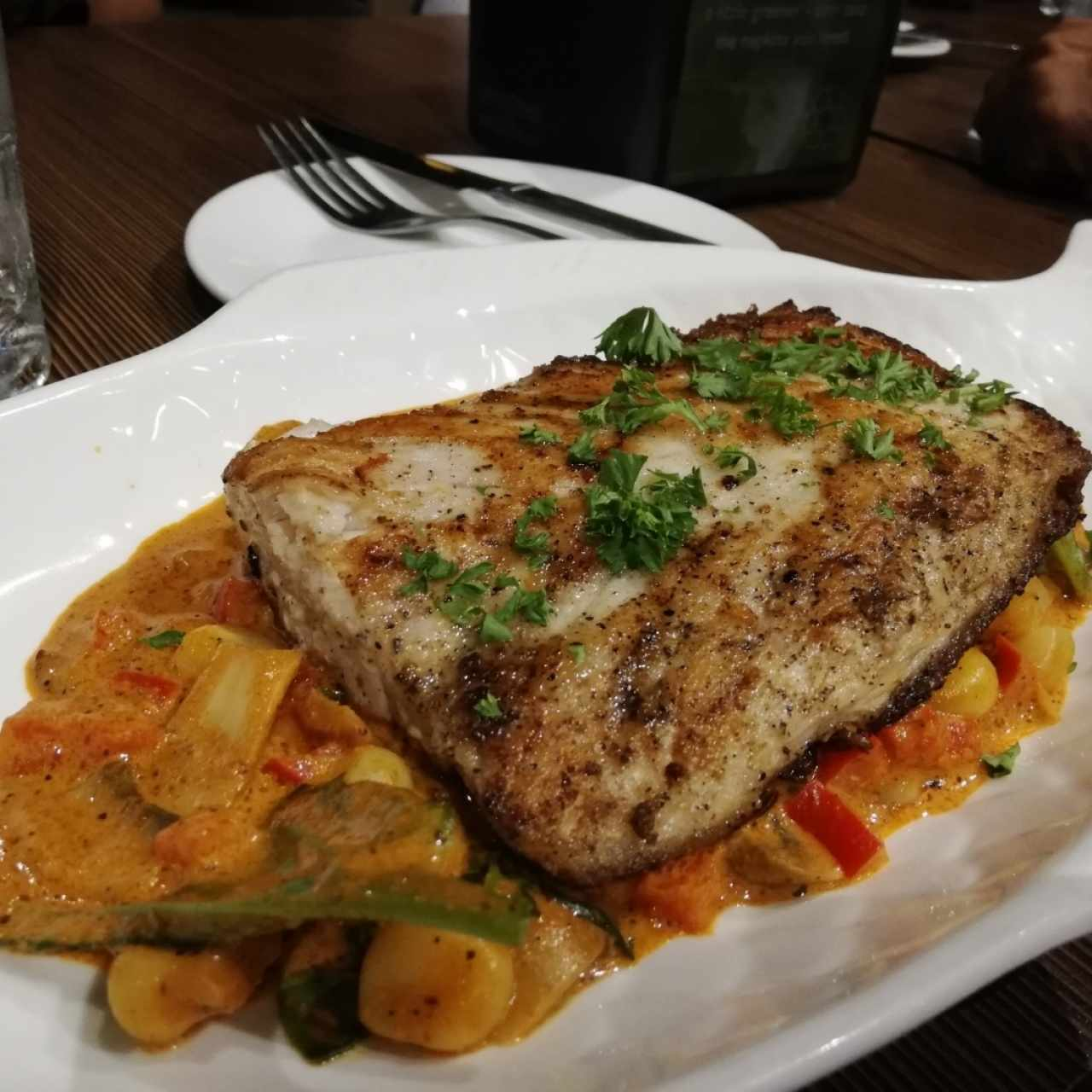 Filete de Corvina a la Primavera
