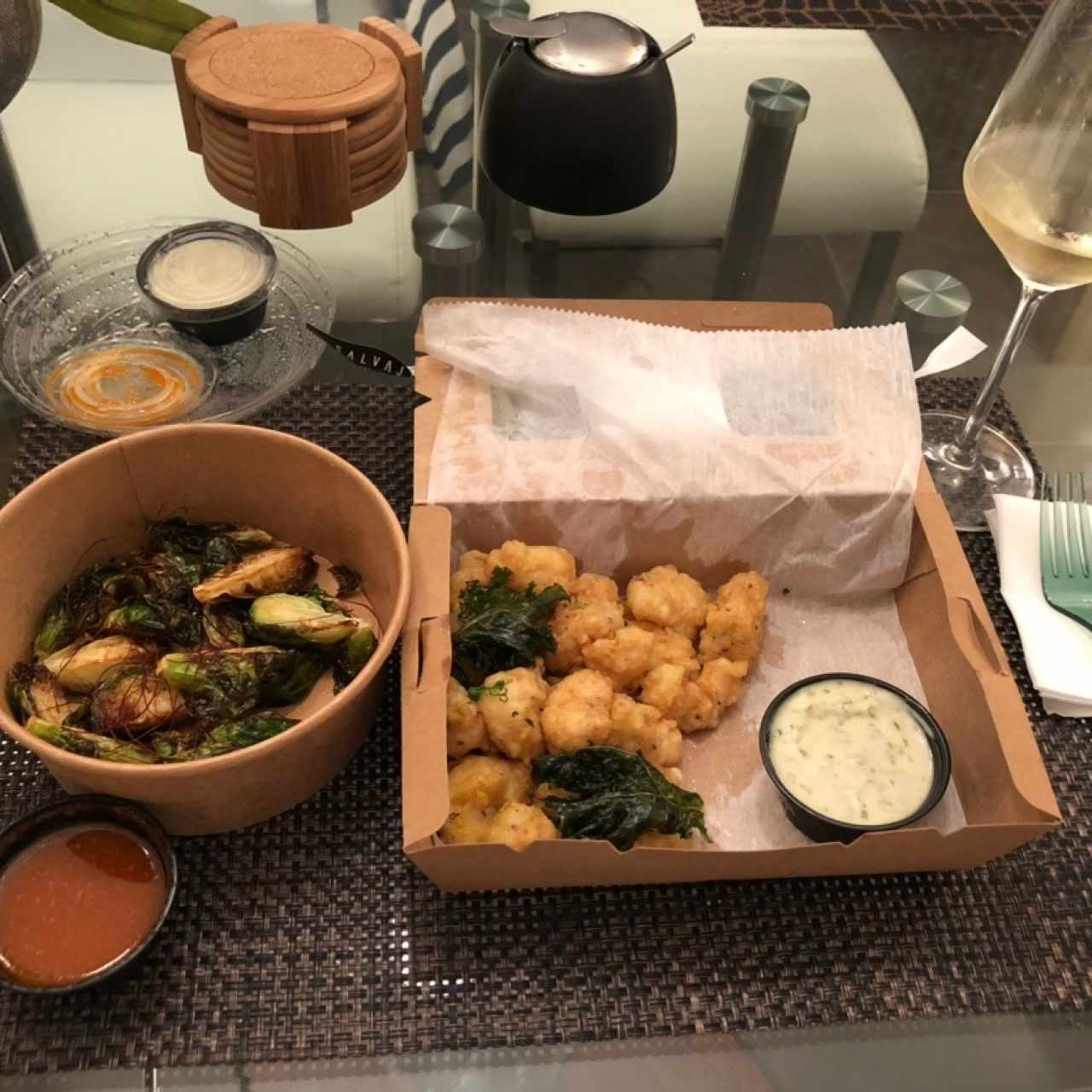 Rock shrimp tempura y Brussels sprouts for delivery