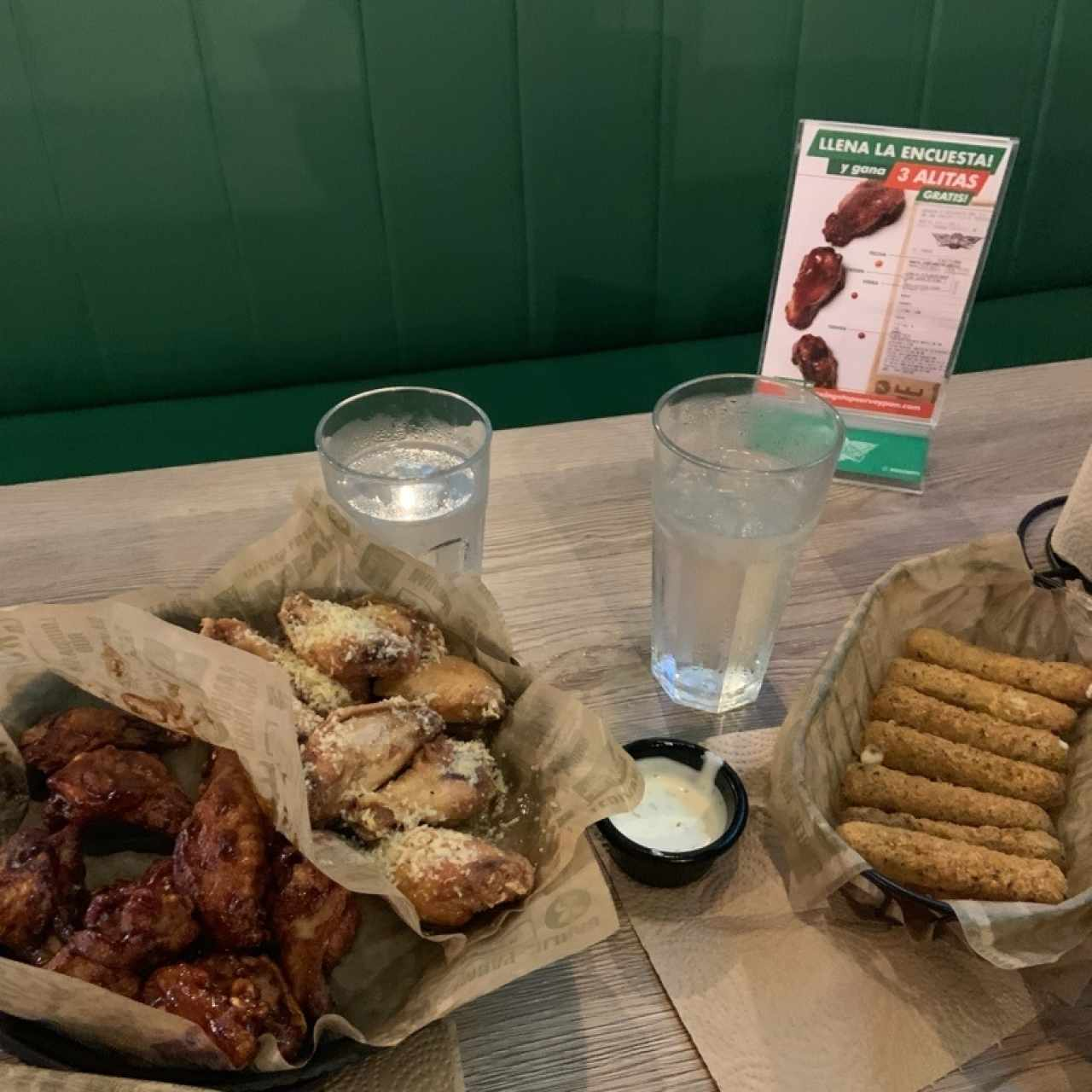 25 wings + mozarella sticks