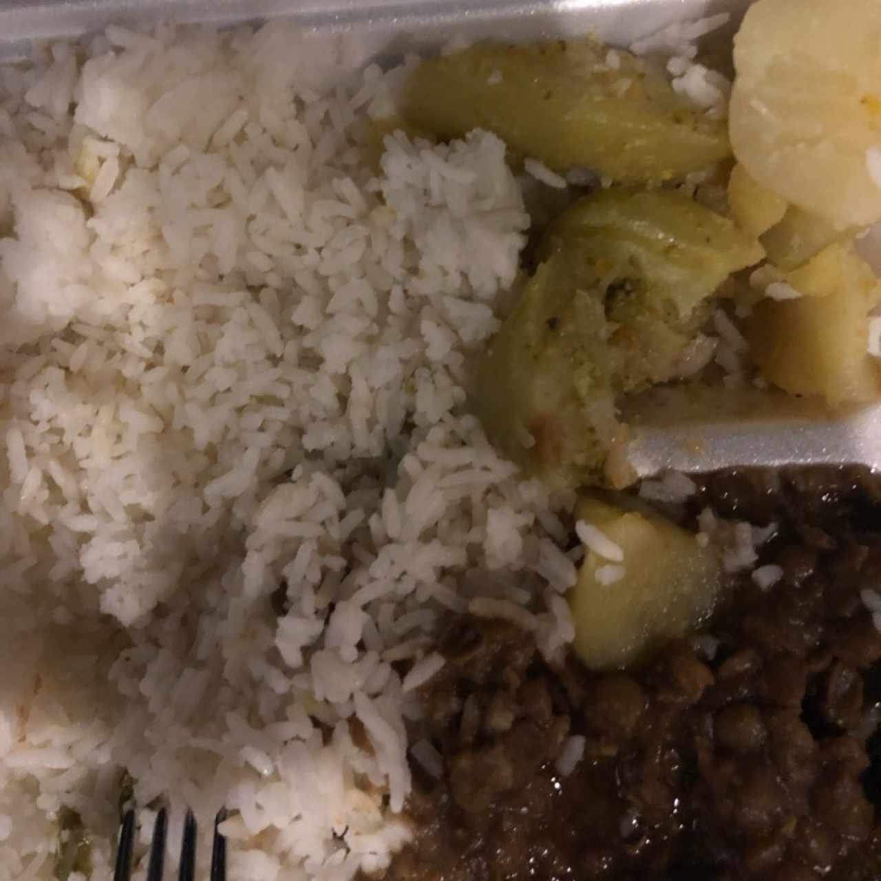 rice, beans, boiled potatoes