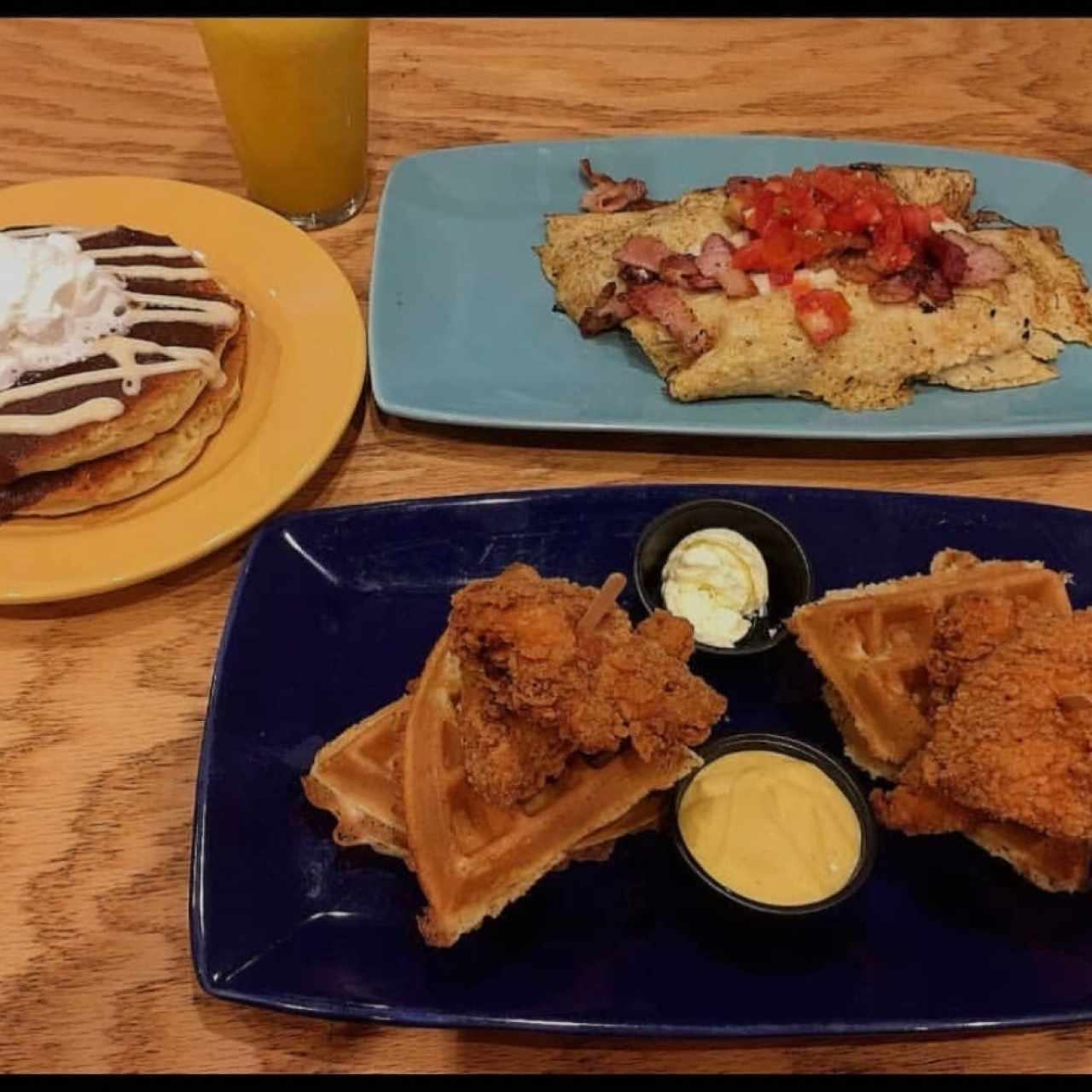 Chicken and Waffles + Omelette + Pancakes
