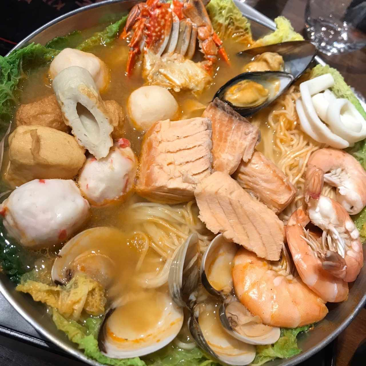 Mao Cai Noodles with Seafood, Vegetables and Meats