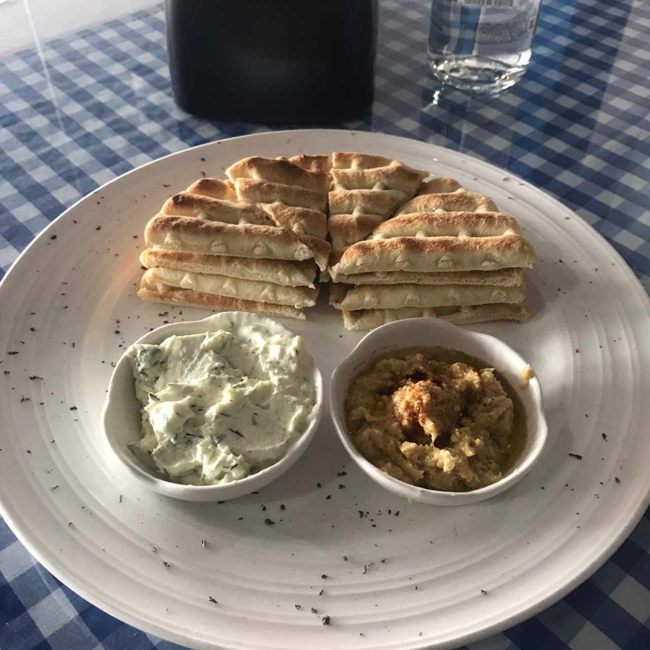 pita, humus, yogurt