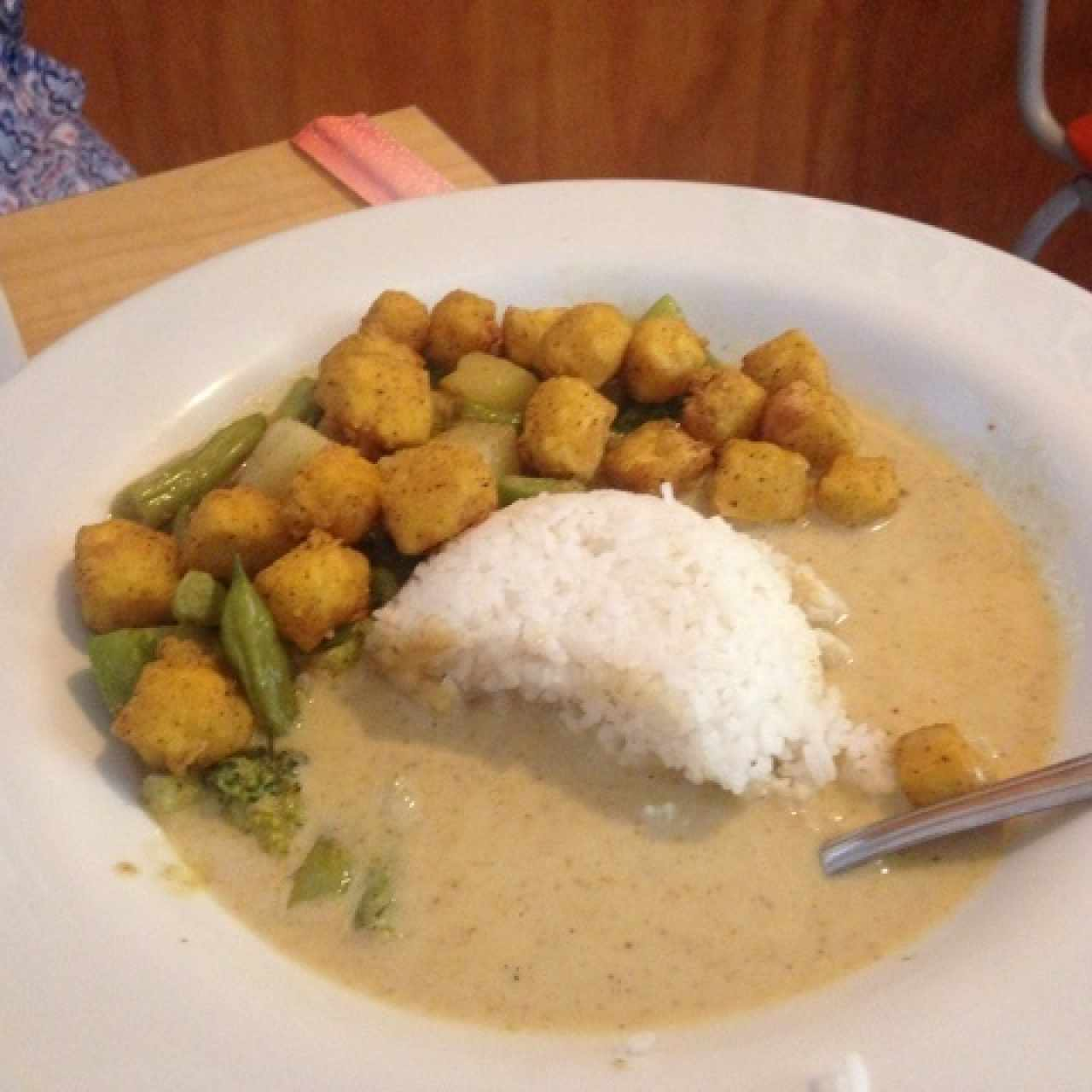 fried tofu yellow curry