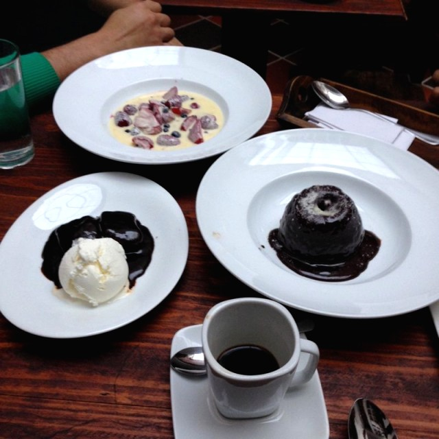 Death by chocolate, sticky toffee pudding,  iced berries