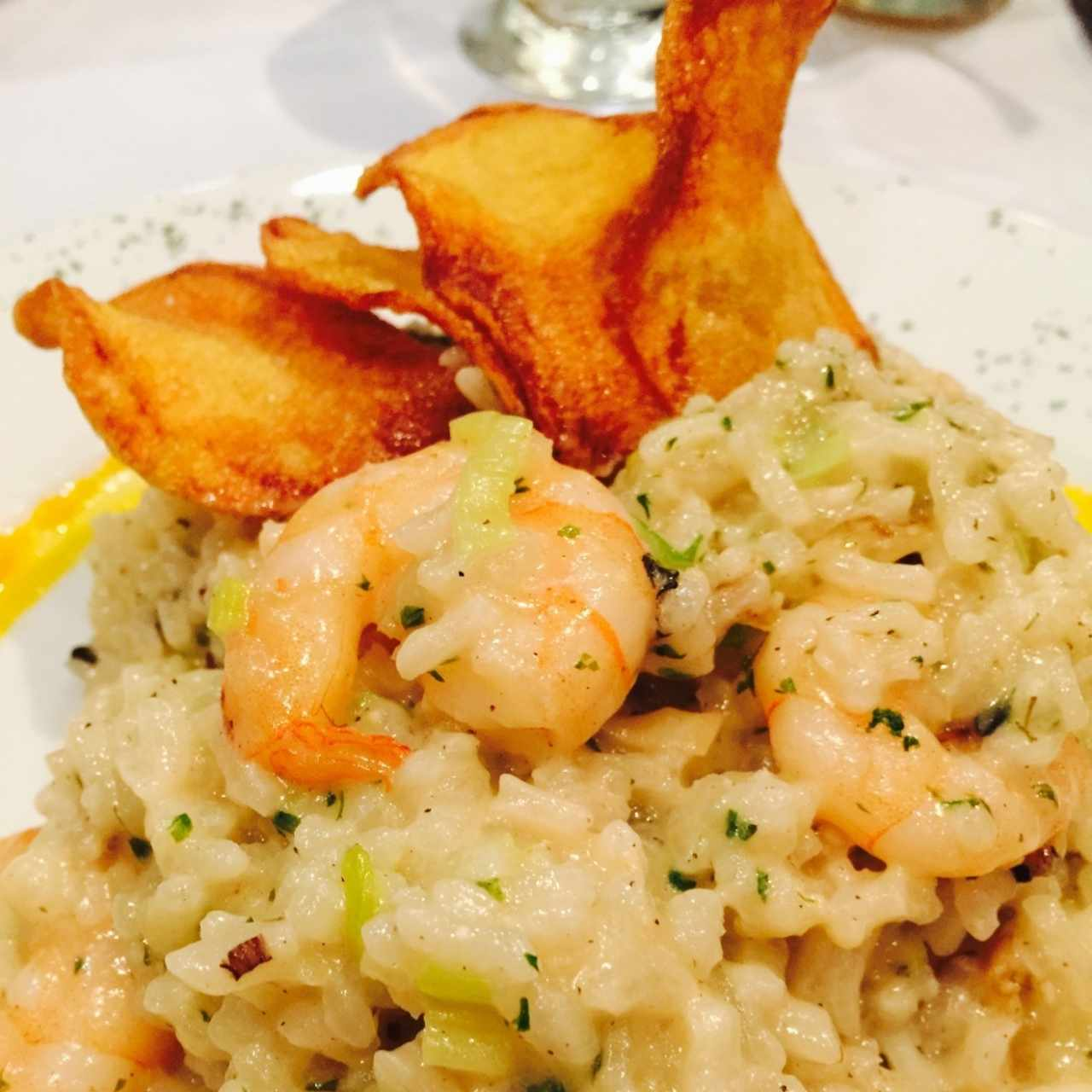Risotto de camarones close up
